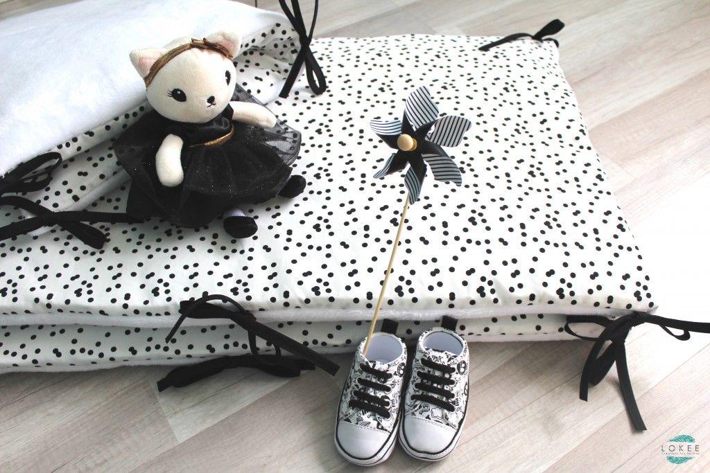 tour de lit 70 x 140 noir et blanc un beau motif pois - Tour De Lit 70x140
