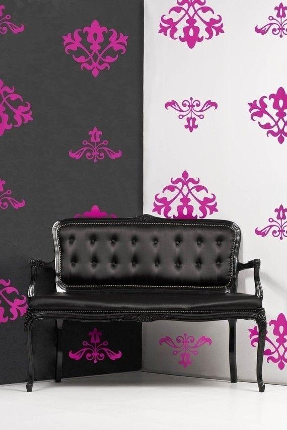 Floral Damask Vinyl Wall Decal Pattern, Shabby Floral Flock Damask  12  Graphics , Sticker, Wallpaper, Item 10006