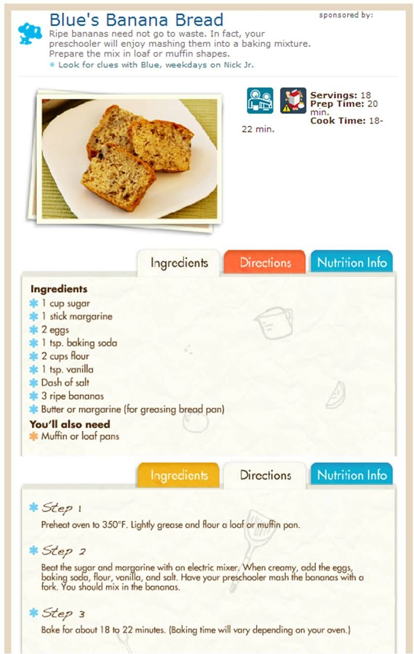 Blues Clues Banana Bread. One of the best, and easiest, recipes I\'ve ...