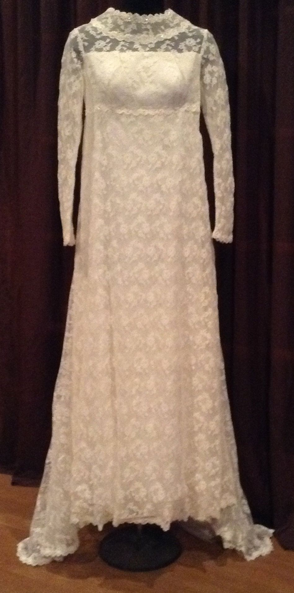 Vintage wedding dress aline ivory lace empire waist long sleeves