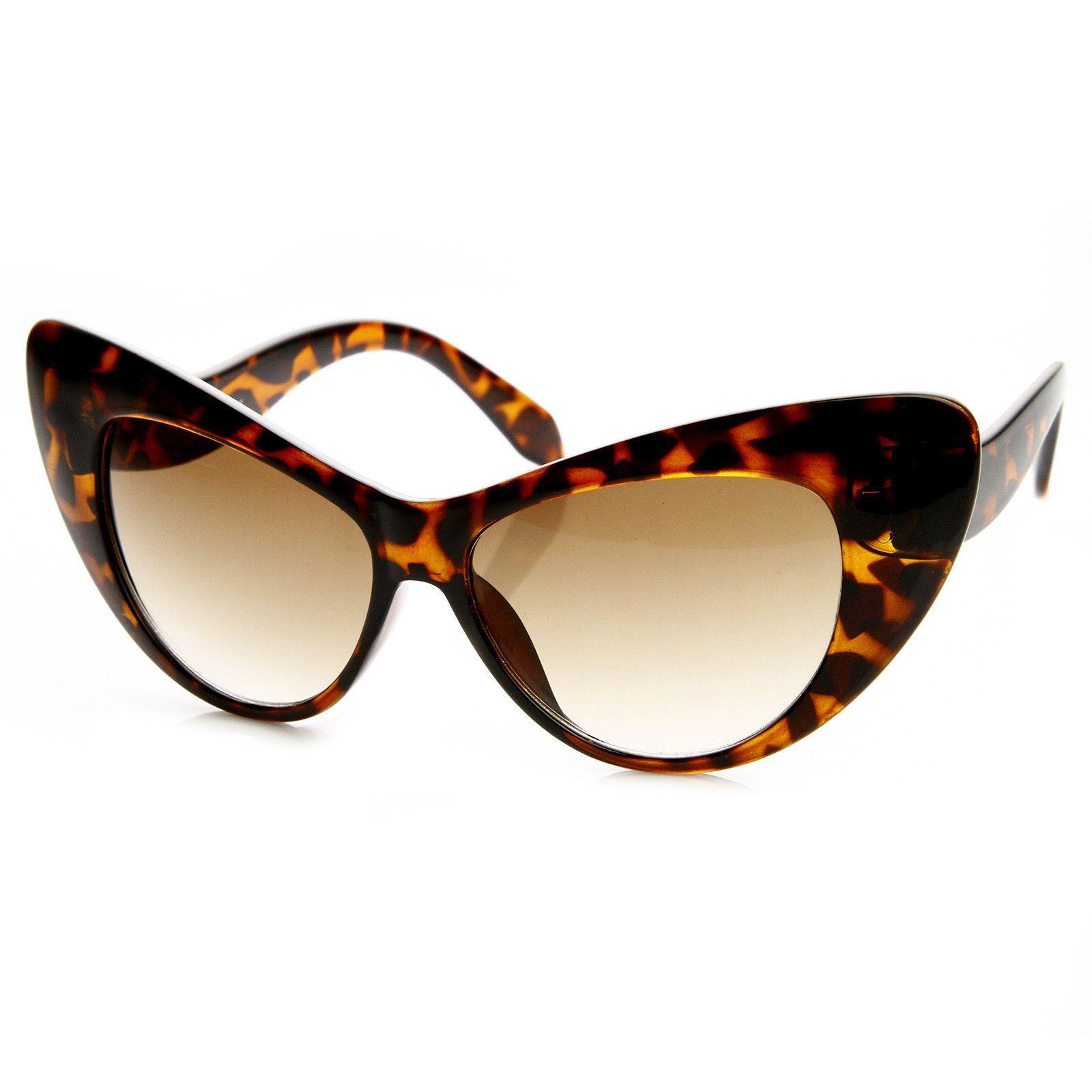 Designer Womens Oversize Retro Cat Eye Fashion Sunglasses 8938