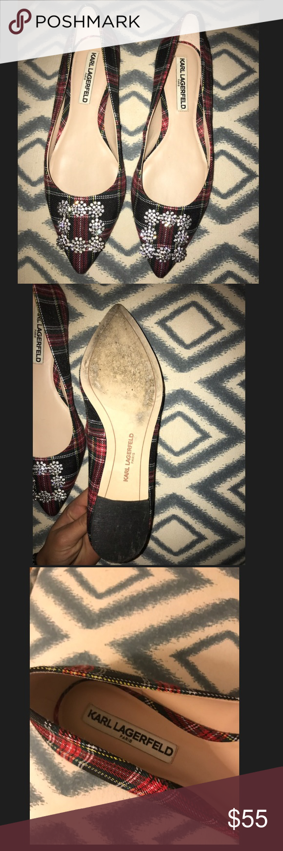 """23cdc6550e53 Karl Lagerfeld size 7 """"Nara"""" Plaid Ballet Flats Worn literally once at an  event"""