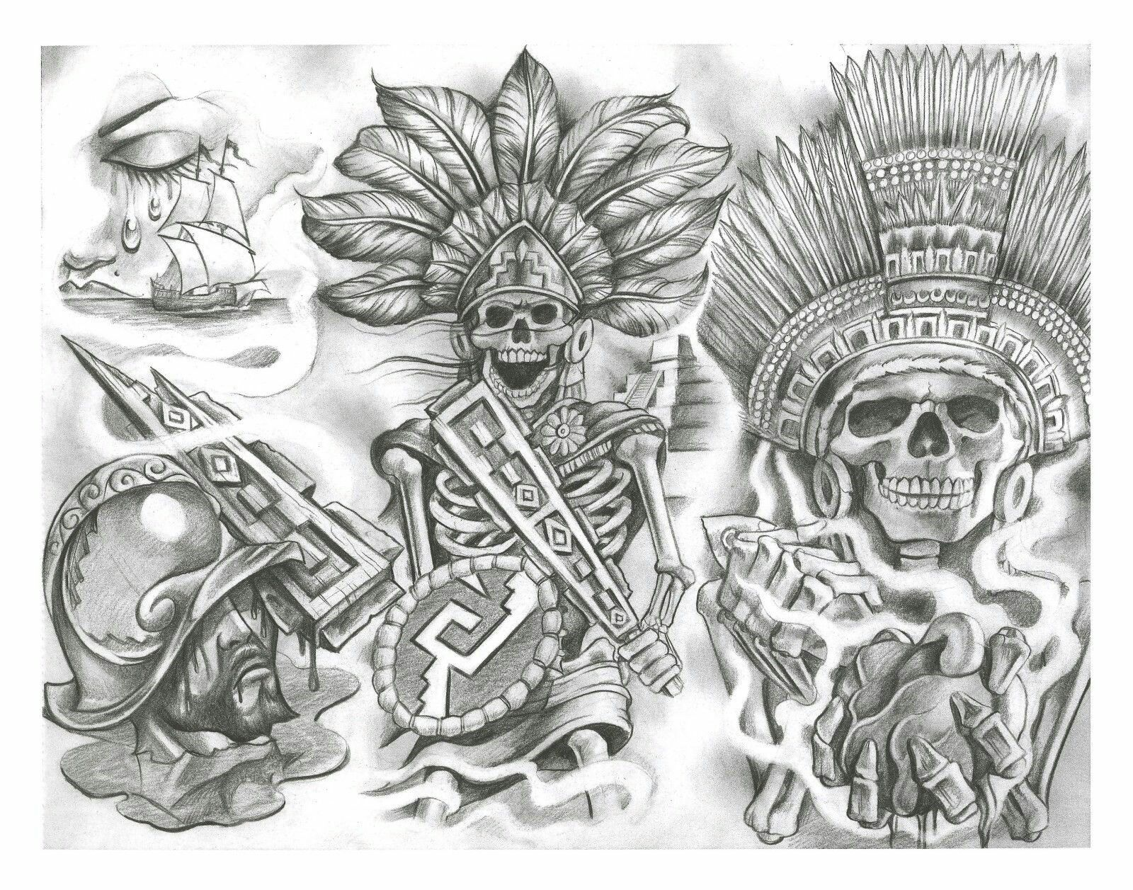 flash tattoo chicano tattoos aztec designs azteca drawings grey skull mexican sheets arte dvd cd sleeve symbols tatoos line patterns
