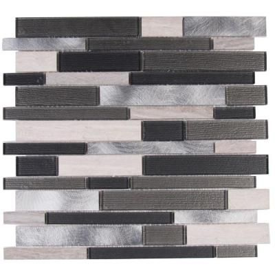Ms International Urban Loft Interlocking 12 In X 12 In X 4 Mm Glass Stone Metal Mesh Mounted Mosaic Tile 20 Sq Ft Case Gray