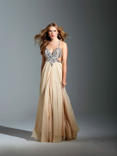 Nude Cutout Dress with Silver Bodice