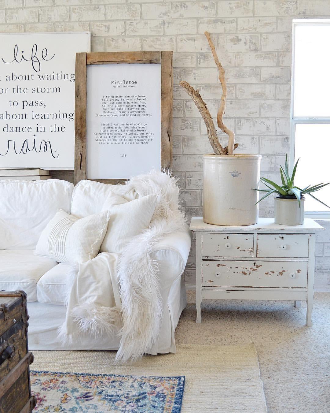 Chippy dresser painted with milk paint, brick wall, farmhouse/boho ...