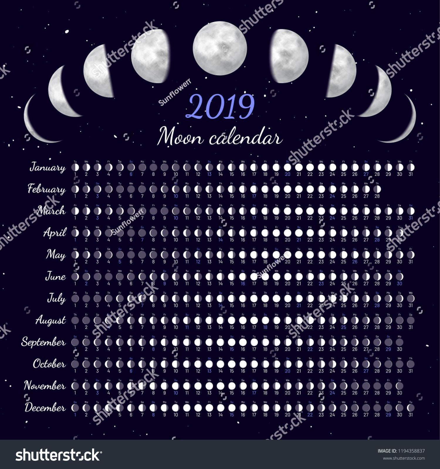 Moon Phases Calendar Dates For Full New And Every Phase In Between Cycles Of The Moon Vector Illustration Dai Moon Phase Calendar Lunar Cycle Moon Calendar
