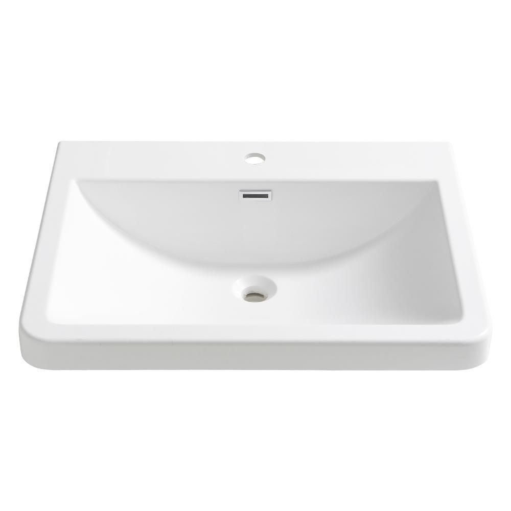 Fresca Milano 26 In Drop In Acrylic Bathroom Sink In White With