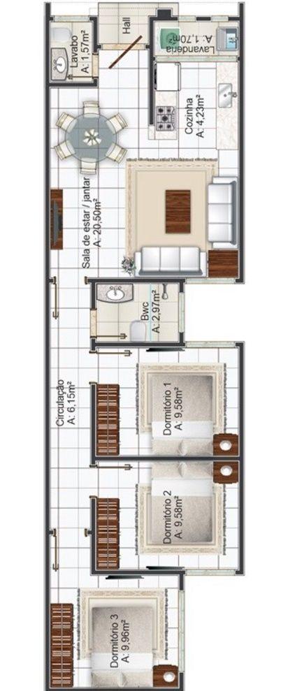 Plano de casa moderna y angosta casas planos fachadas - Casas estrechas y largas ...