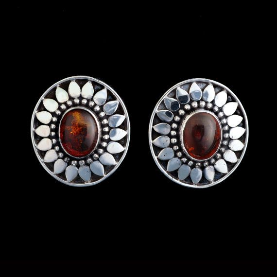 Amber Clip Earrings- Handcrafted Sterling Silver by Bluemoonstone Creations.