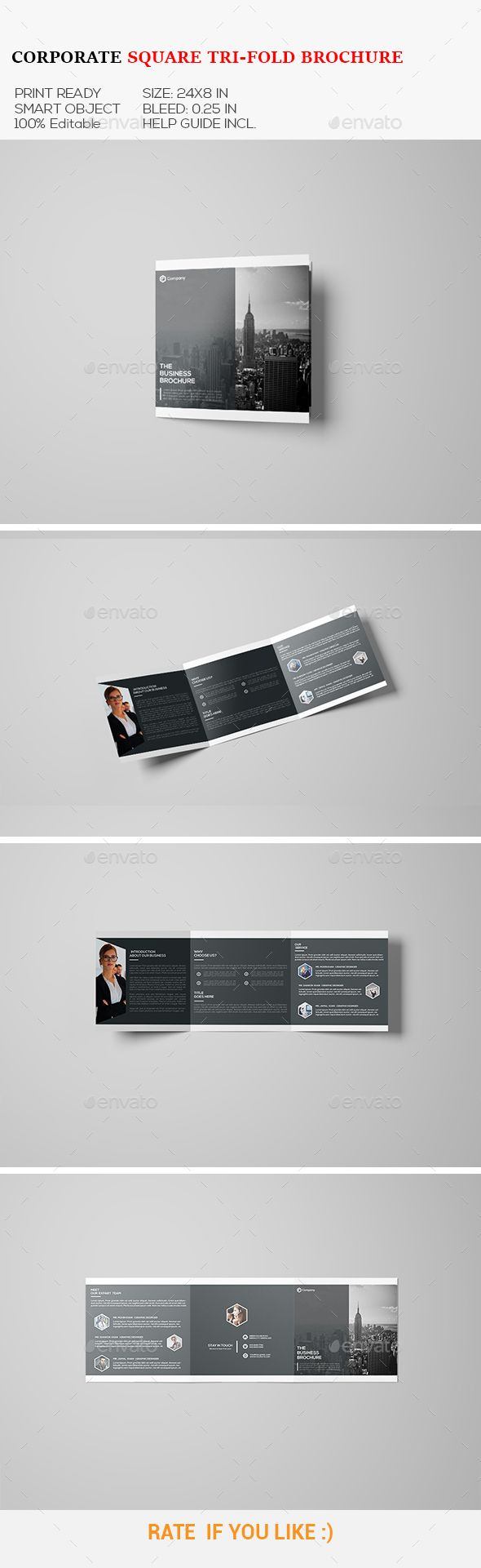 square corporate tri fold brochure pinterest