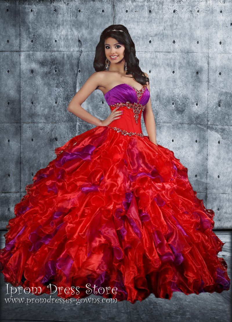 Ball Gown Sweetheart Neckline Floor length Sleeveless Organza Quinceanera Dress with Beading (SAS444) [SAS444] - US : Prom Dresses and Quinceanera Dresses - Iprom Dress Store, Iprom Dress Store