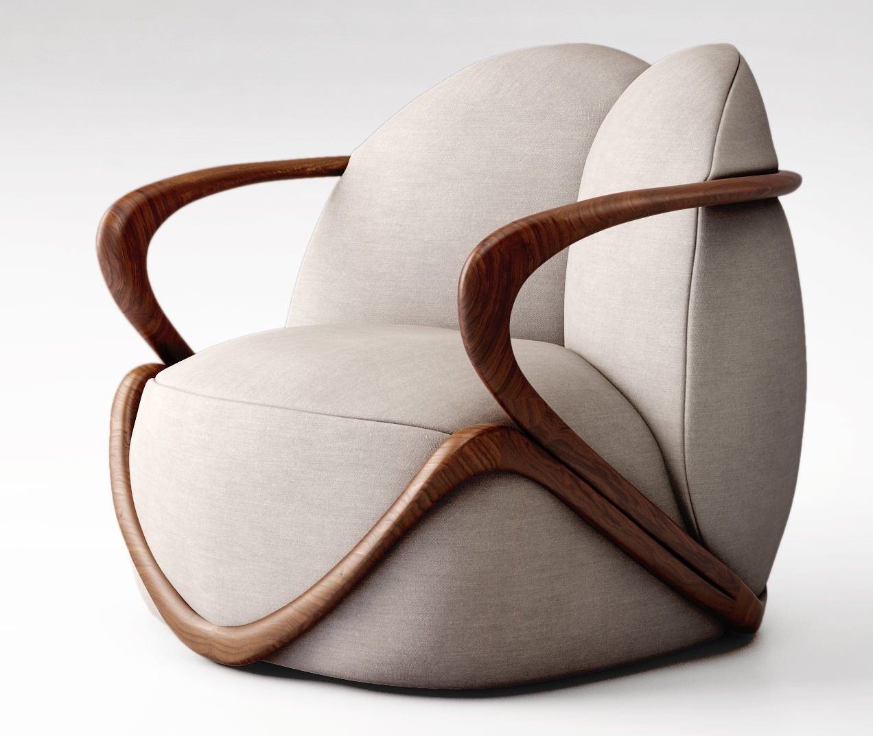 Armchair with the structure in solid walnut canaletto wood (fin.11). The frame of the seat and of the backrest is in profiled steel and the padding is in coldfoamed polyurethane covered with fibre. The upholstery, not removable, is in fabric or leather.