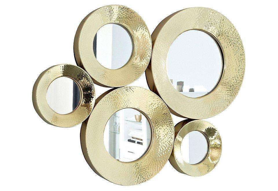 Goldfarbene spiegel von kare design mehrere kleine runde spiegel ergeben dieses einzigartige - Kleine runde spiegel ...