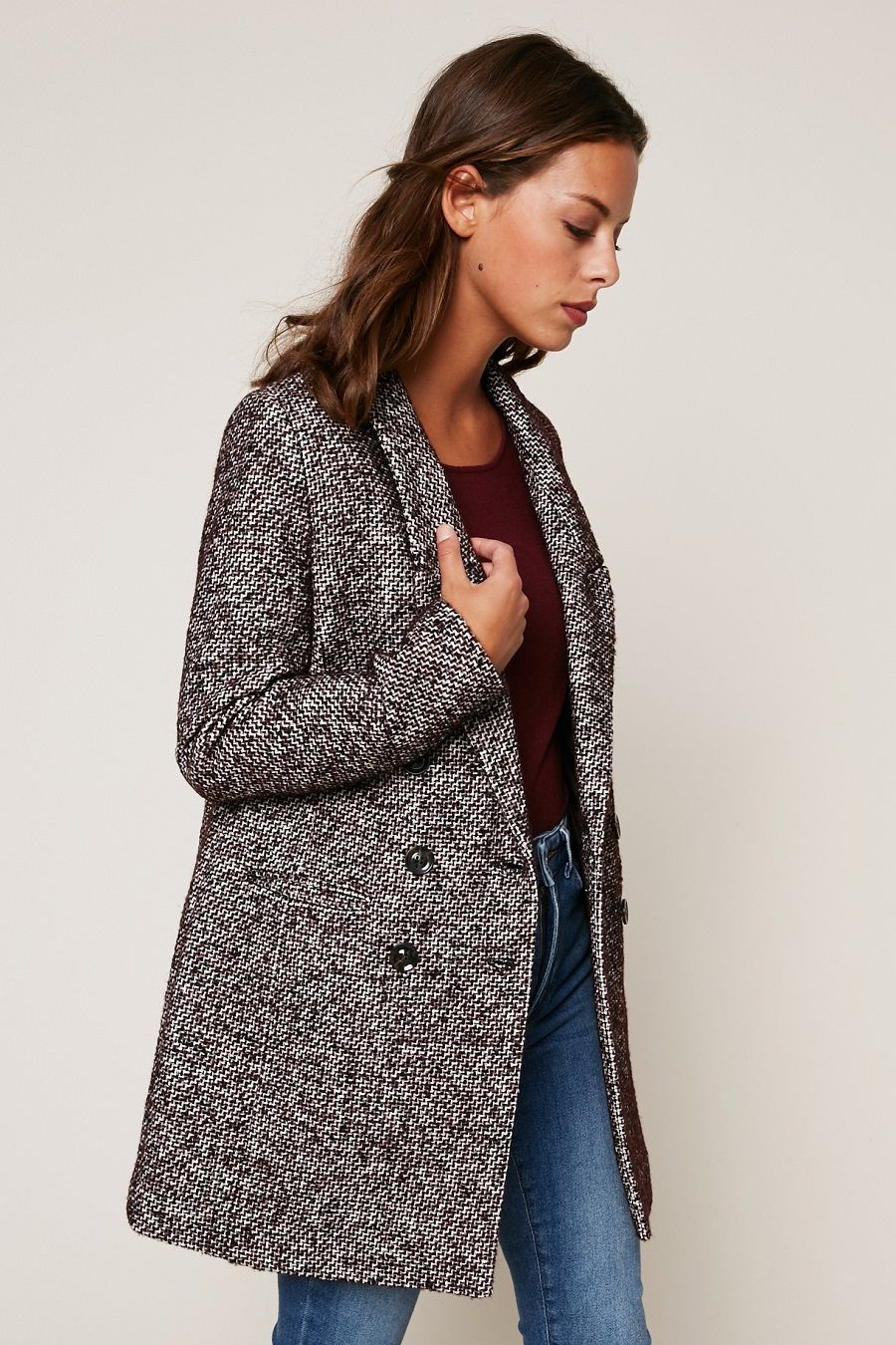ikks women manteau mi long tweed blanc et bordeaux ikks pinterest tweed mi long et bordeaux. Black Bedroom Furniture Sets. Home Design Ideas