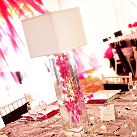 Submerged flowers and square lamp shades
