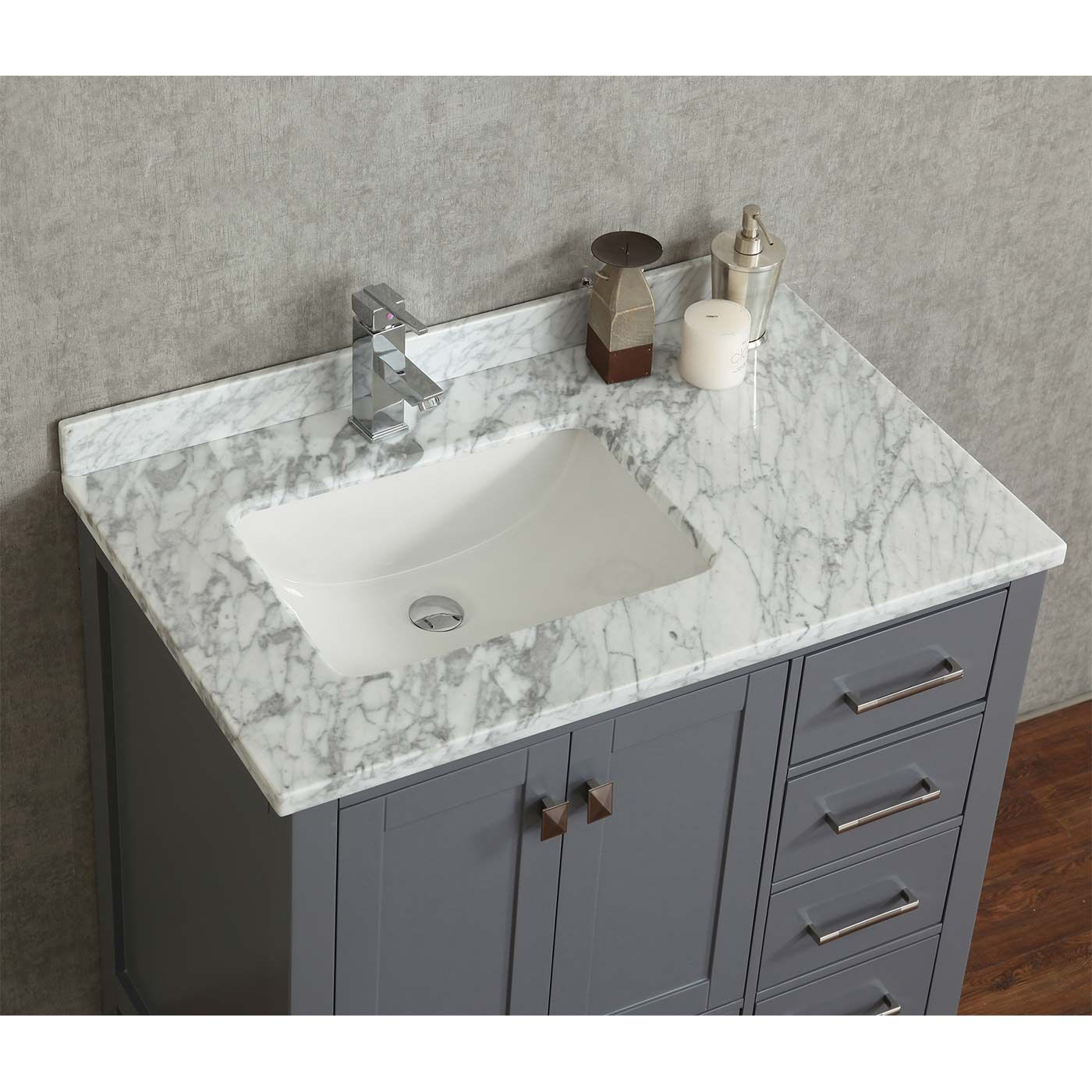 Vincent 36 Solid Wood Single Bathroom Vanity In Charcoal Grey Hm