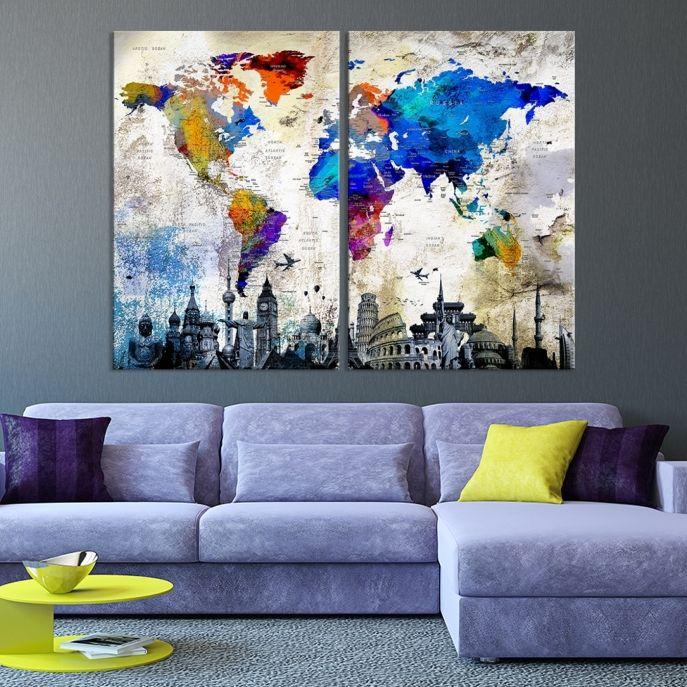 Large Watercolor World Map Canvas Print - MyGreatCanvas.com   Extra ...