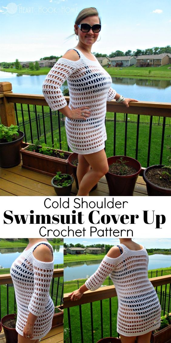 7687f41a86ad9f GORGEOUS Cold Shoulder Swimsuit Cover Up Crochet Pattern