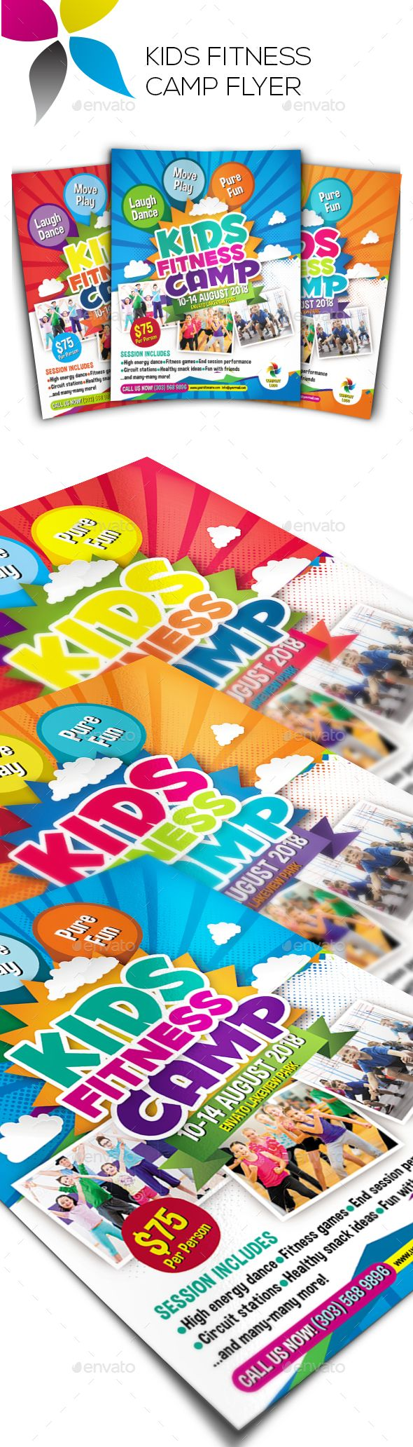 Kids Fitness Camp Flyer  Photoshop Psd Holiday Summer Camp