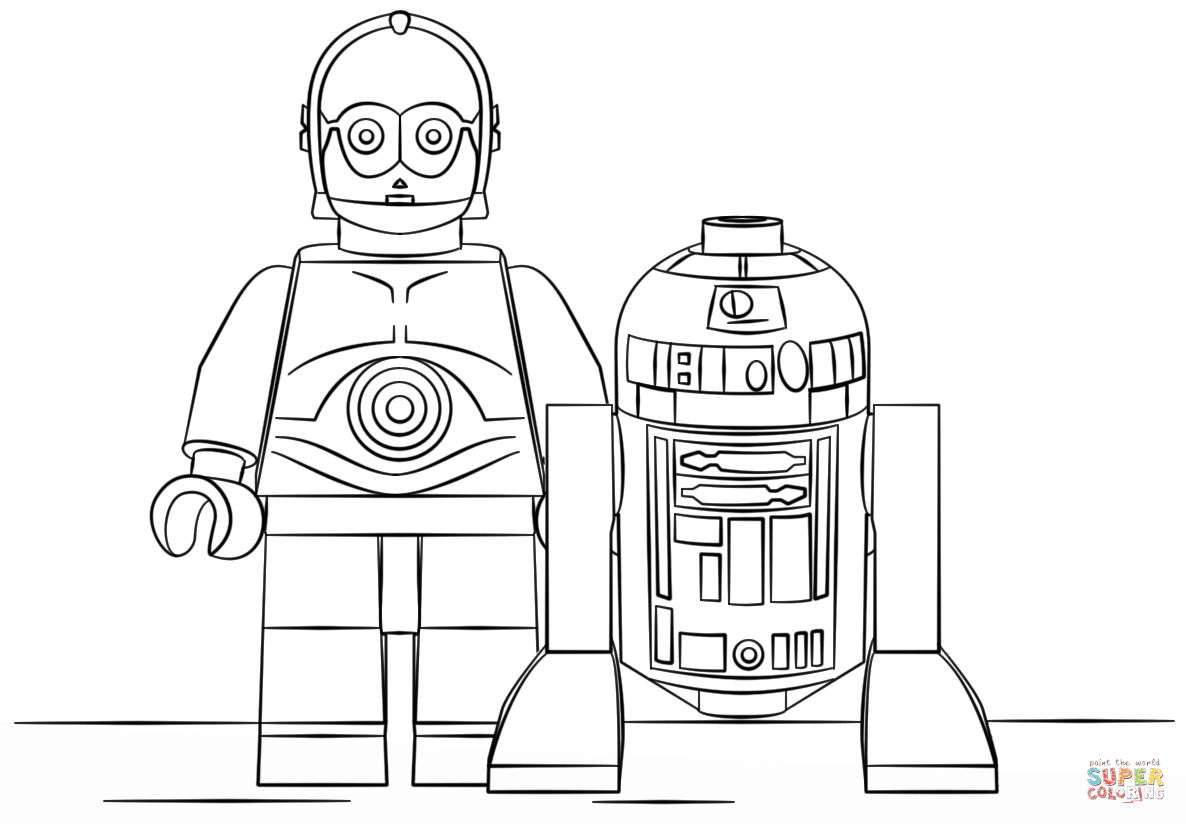 Lego R2d2 And C3po Super Coloring Star Wars Coloring Book Lego Coloring Pages Lego Coloring
