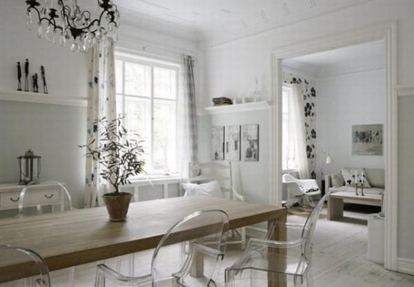 Elegant Minimalist House Containing Natural Theme : Acrylic Chairs Unique Indoor Plant Untreated Wood Dining Table White Wall Bar Home Famil...