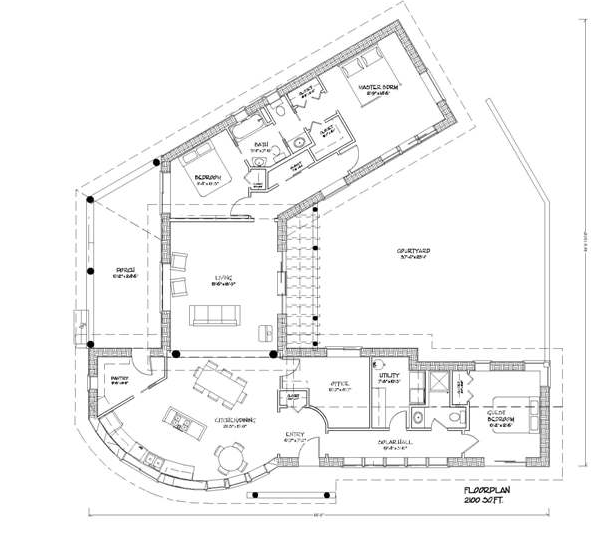 Passive Solar Home Plan Courtyard