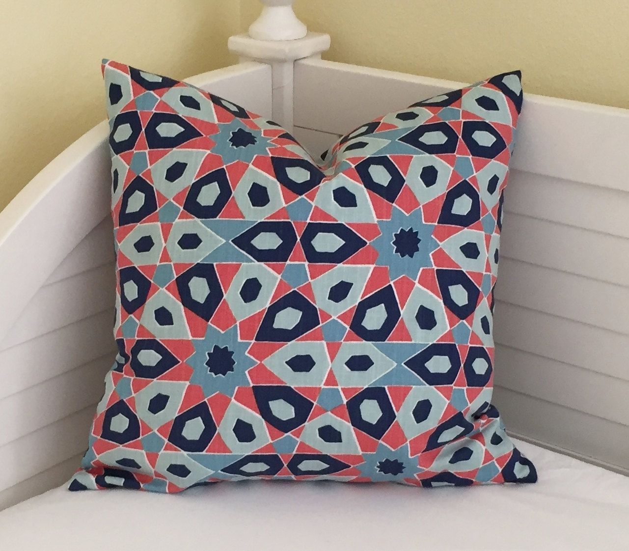 Duralee Starscape in Caribbean (Navy, Blues and Orange)  Designer Pillow Cover…