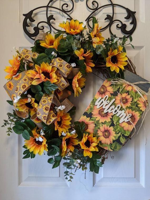 Photo of Sunflower wreath, rustic wreath, spring wreath, front door wreath, every day …
