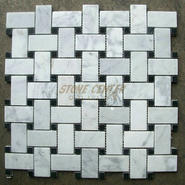 Carrara White Bianco Carrera 1 X2 Basketweave With Black Dots Mosaic Tile Polished Marble From Italy B Basket Weave Tile Mosaic Tiles White Marble Mosaic