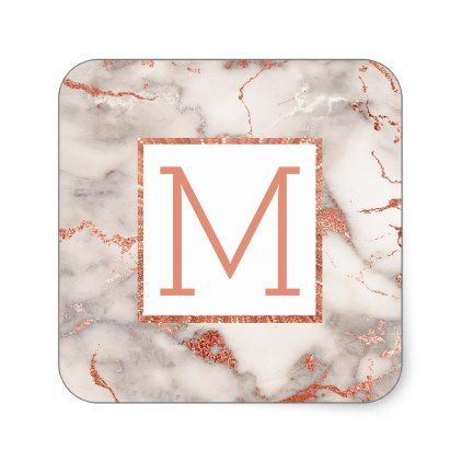 monogram on rose gold marble square sticker - marble gifts style stylish nature unique personalize