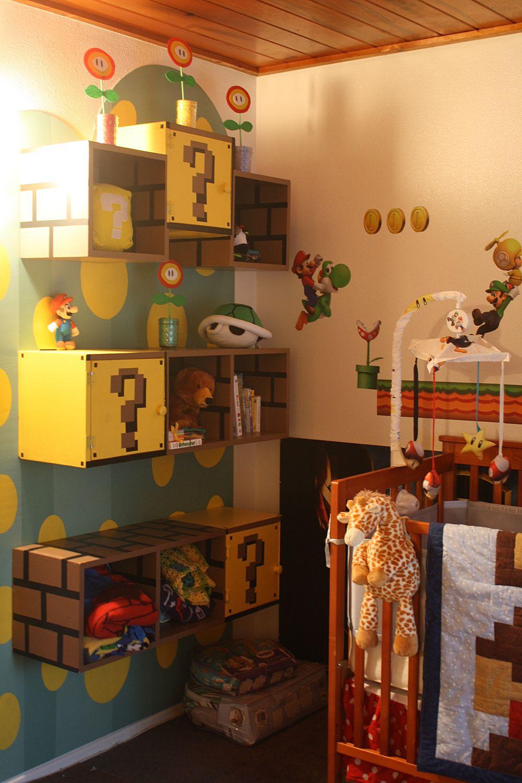 Mario themed shelves.. so cool!!!   kids rooms   Pinterest   Mario ...