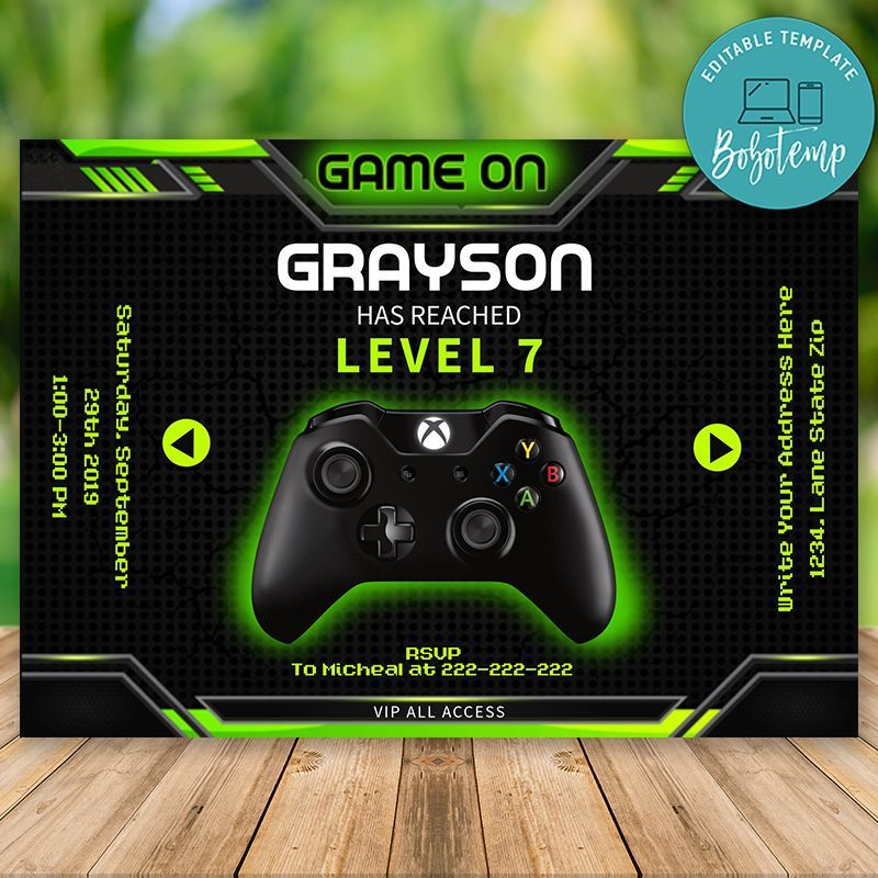 Editable Xbox Game On Birthday Invitations Instant Download Trong 2020