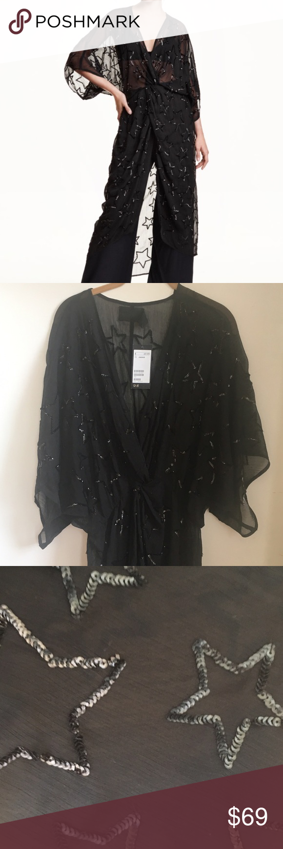 Sequin star kimono dress Black sheer kimono drapery dress with black sequin stars - hi lo tulip front -batwing sleeves- elastic waist one size - wear over a slip as a dress, over jeans or black pants as a tunic, or over a bathing suit as a cool coverup!  BRAND NEW WITH TAGS H & M Dresses High Low