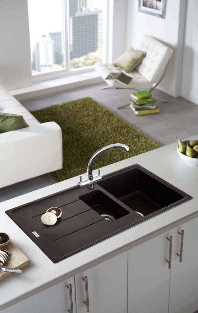Beautiful Contrasting Worktop And Sink Granite Kitchen Sinks Contemporary Kitchen Sinks Black Kitchen Sink