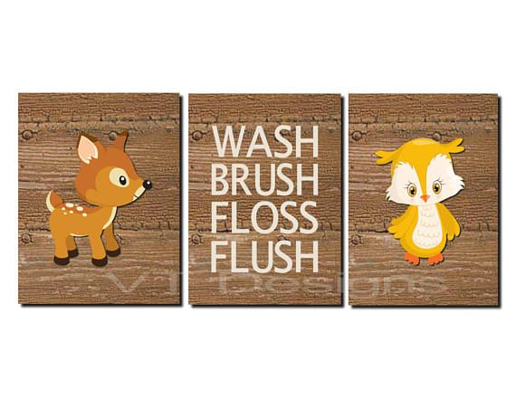Woodland Bathroom Art Kids Decor Forest Animals
