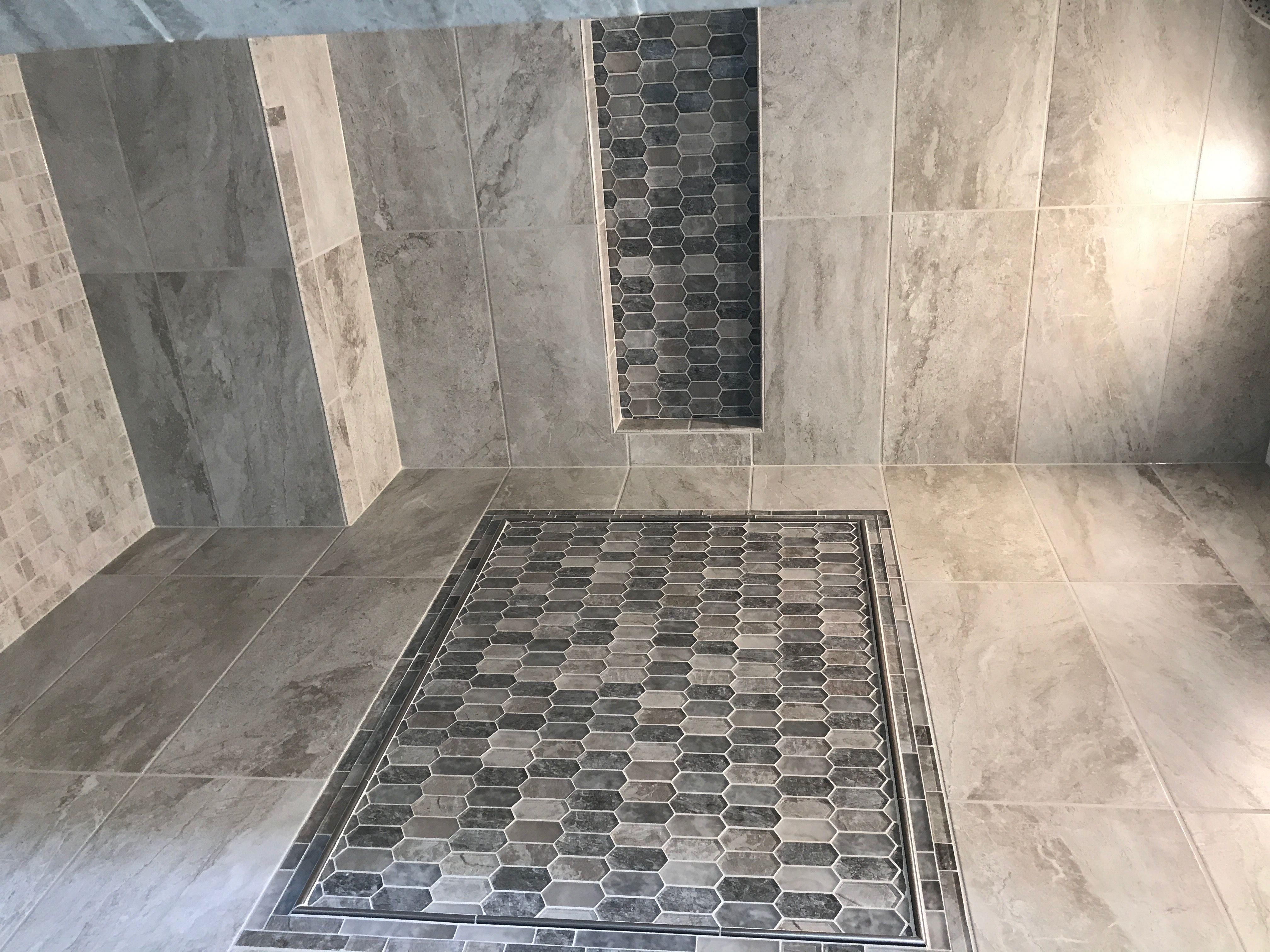 Severino Cenere Fog 12x24 W Savory Picket Mosaic Daltile Bath Remodel Bathroom Design