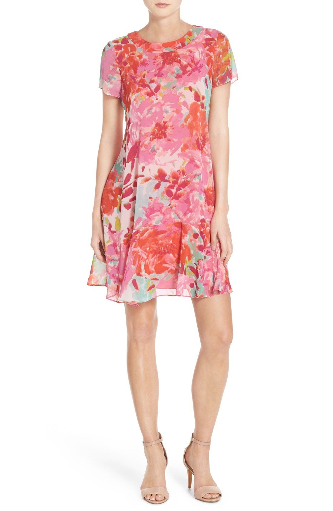 c089e0e759cf2 Eliza J Floral Chiffon Shift Dress available at #Nordstrom | Dresses ...