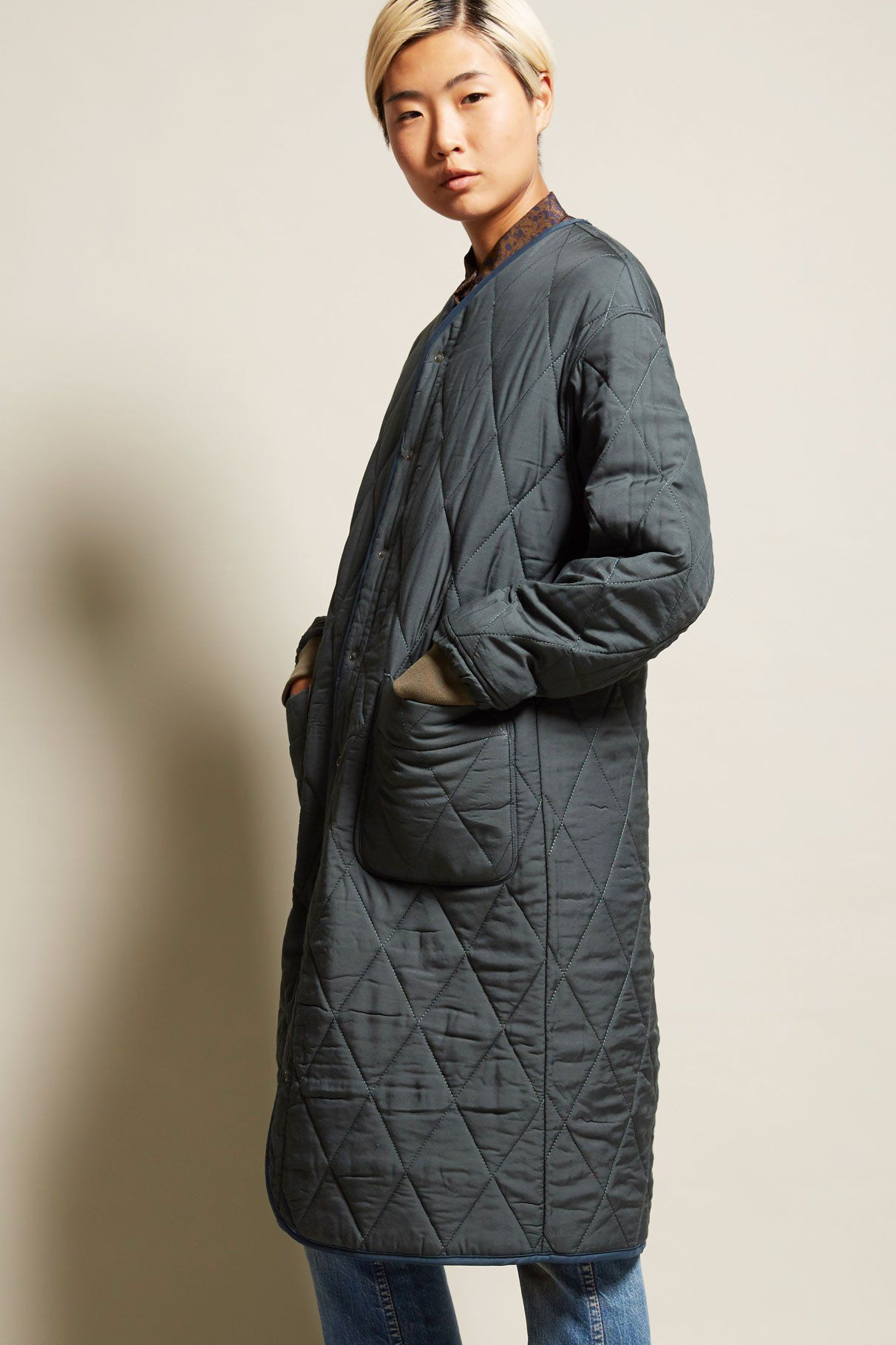 Standalone reversible quilting coat in khaki new arrivals