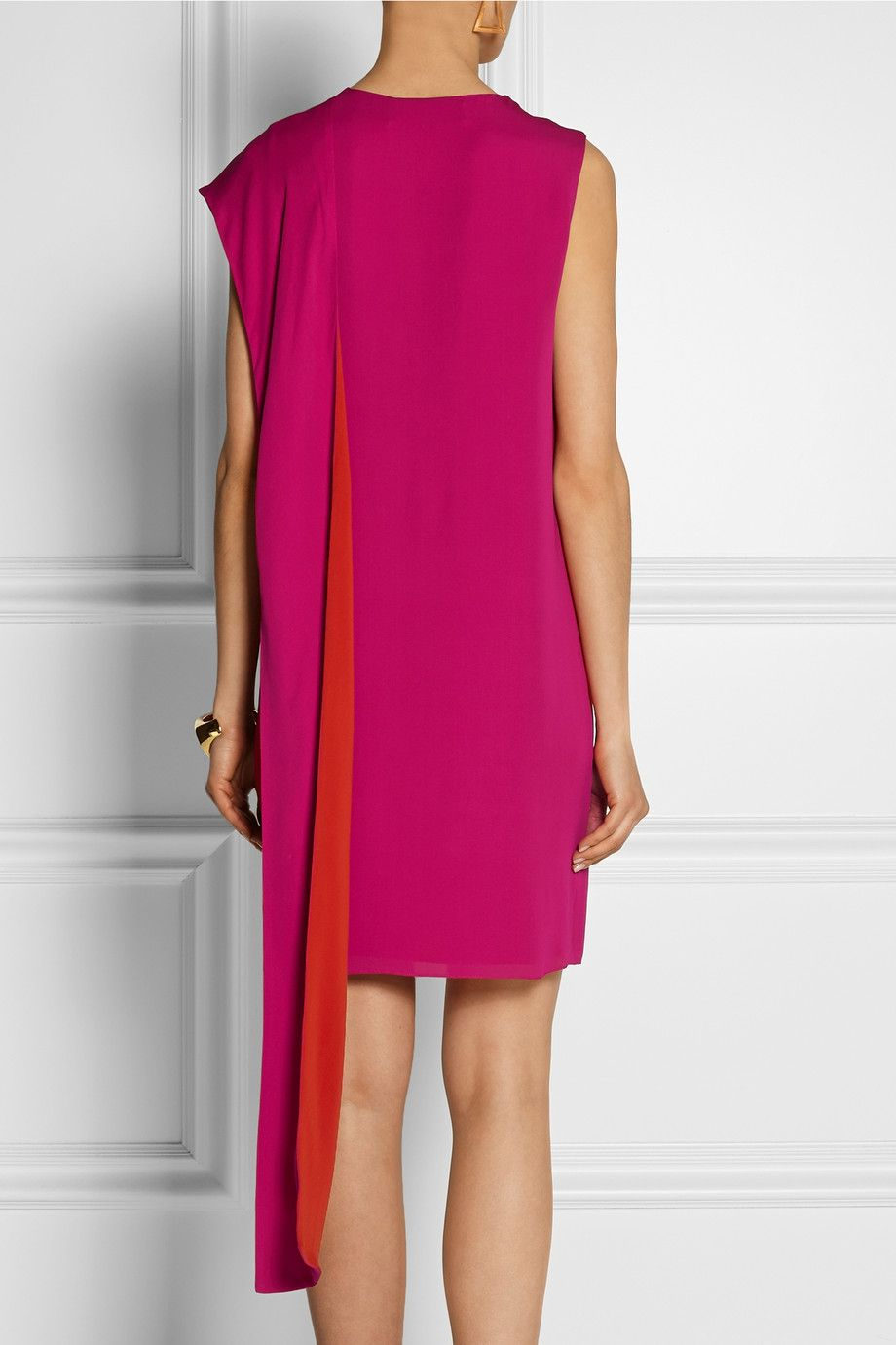 Gucci|Two-tone silk wrap dress|NET-A-PORTER.COM