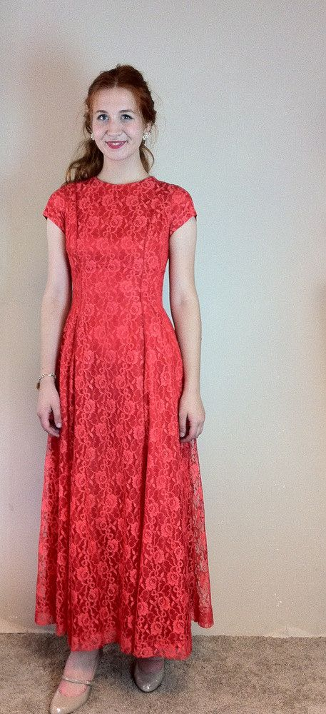 1950's 40s Cherry Red Floral Lace Evening Gown