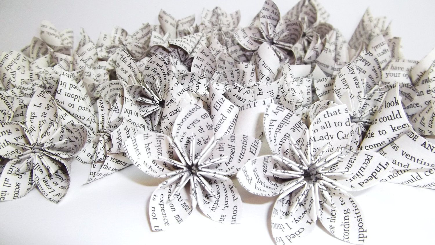 Wedding decor images   plain petit paper flowers Pride and Prejudice origami wedding