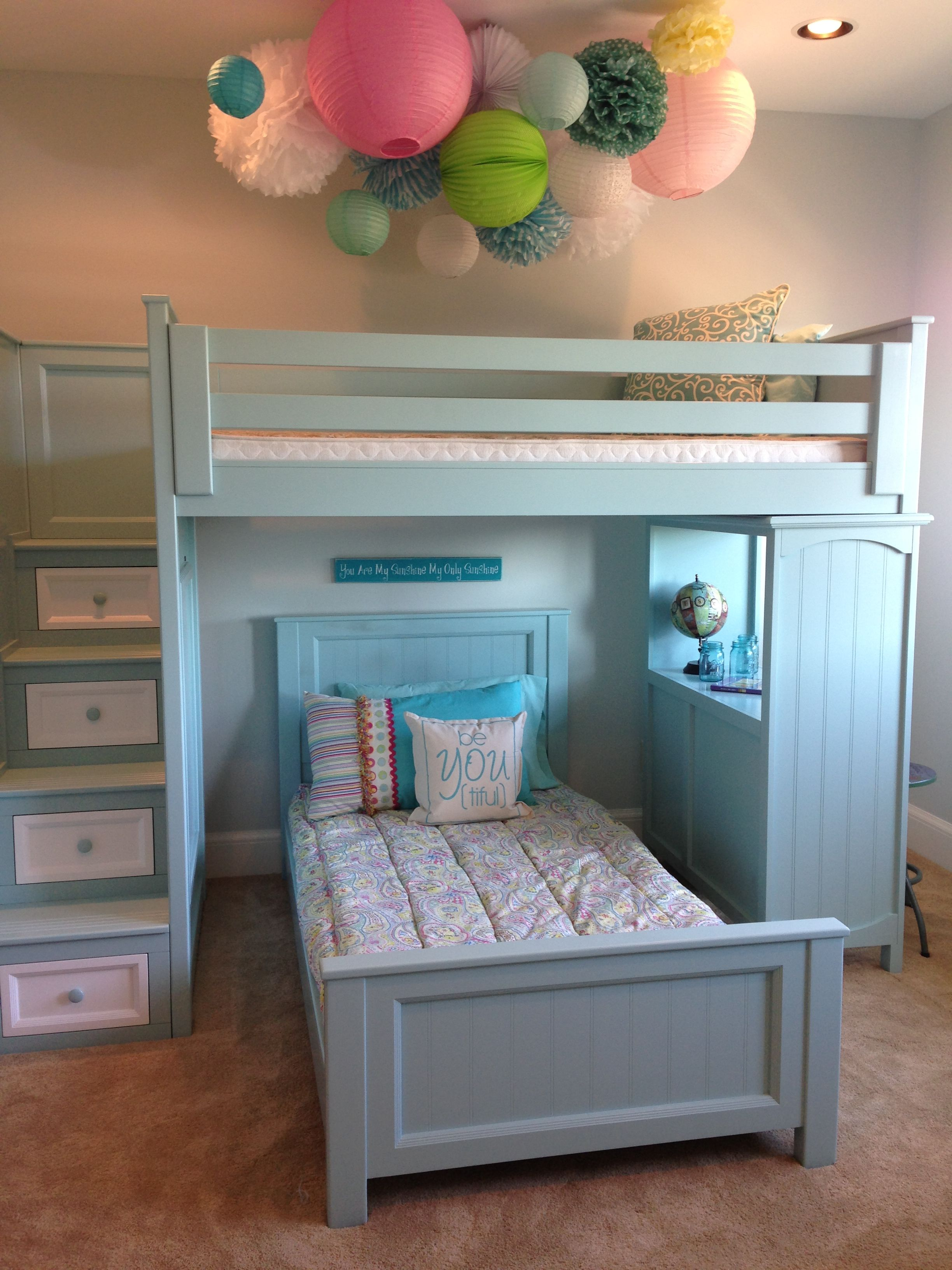 Loft bed with desk for small room  Goodnight Room bunk bed for a little girls bedroom AmerianDreamSOD