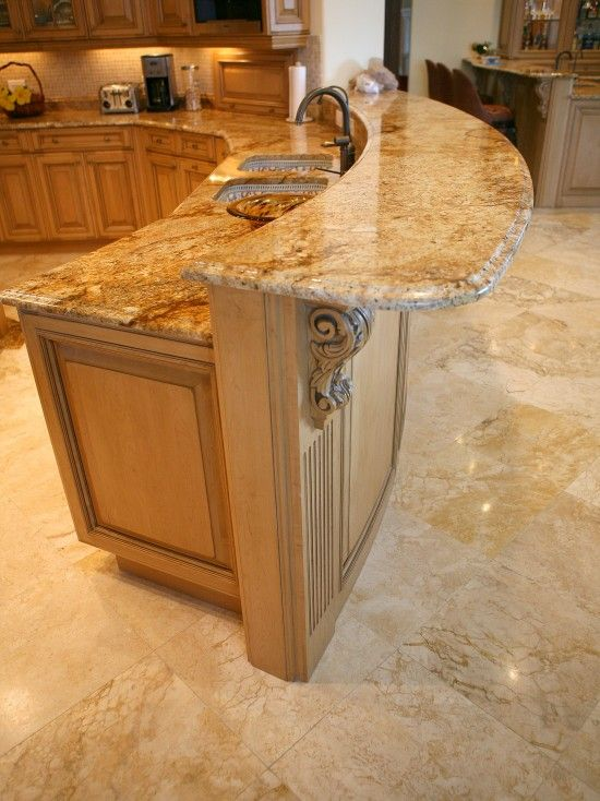 Rounded peninsula granite design pictures remodel for Crazy kitchen ideas