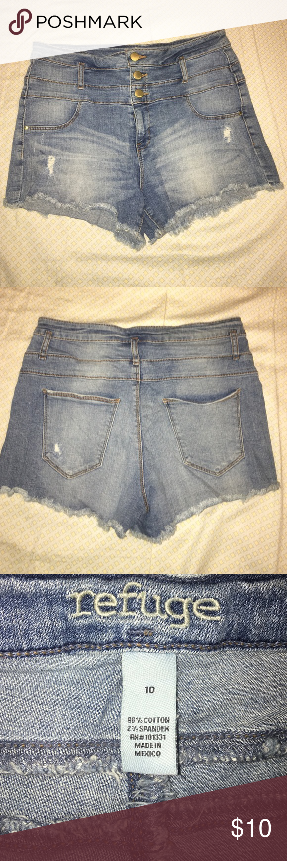 High waisted Denim Shorts High waisted Short Denim Shorts!! Great Condition. Extremely comfortable. refuge Shorts Jean Shorts