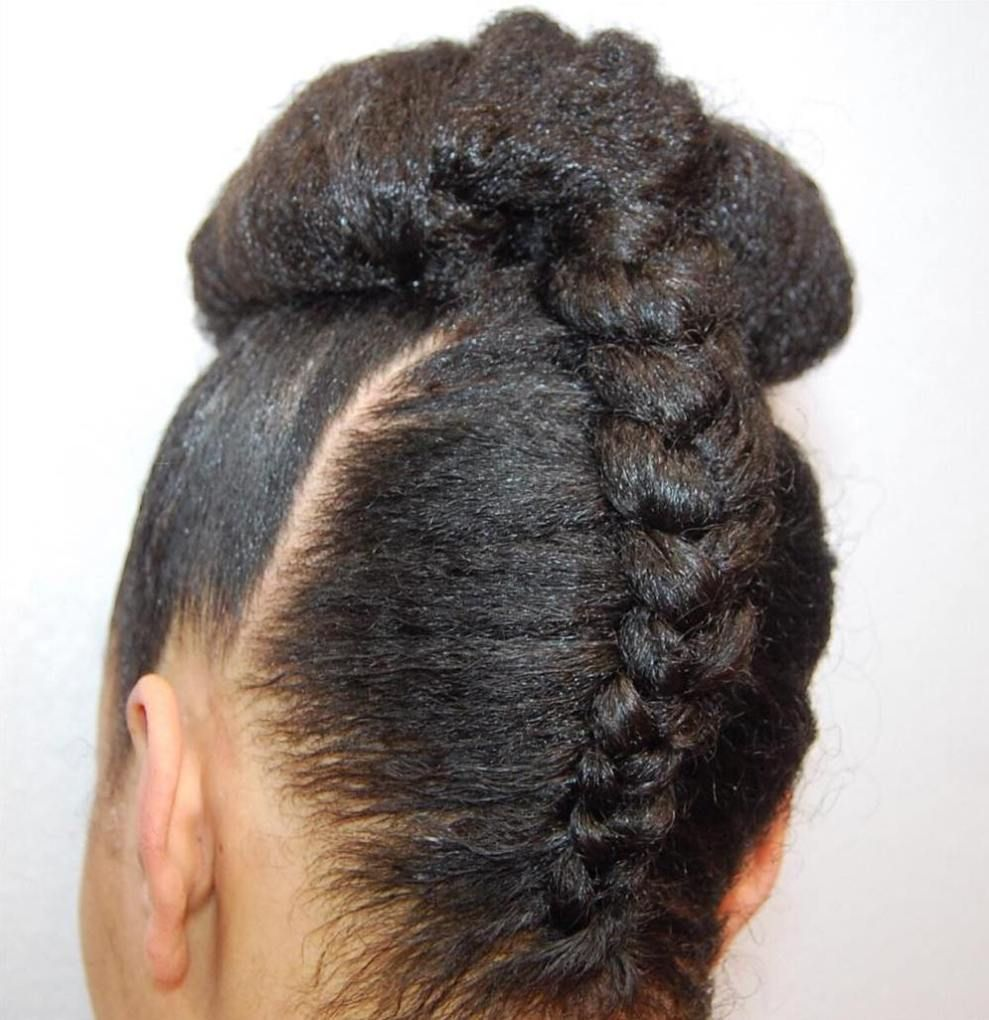 Black upside down braid and bun naturalhairstyles natural