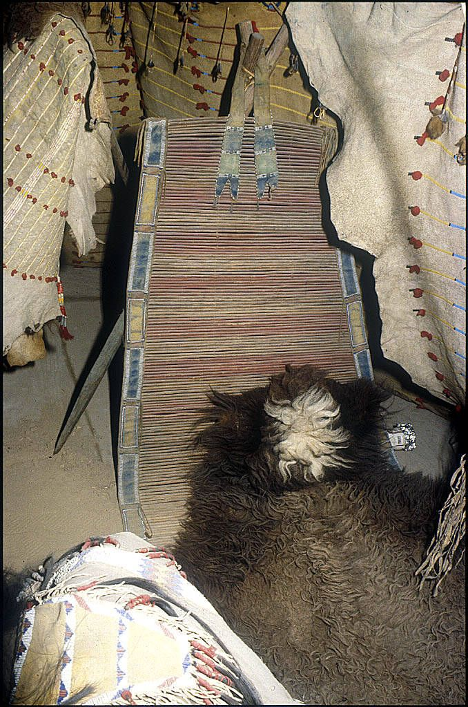 Kiowa backrest, from the old NMNH display of the Arapaho buffalo hide tipi.  ac