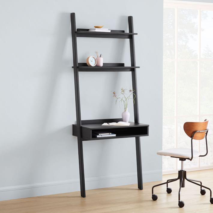 Modern Leaning Wall Desk, Ladder Shelf Storage Desk
