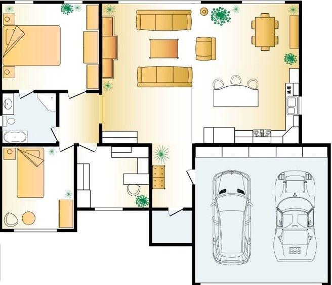 Foto Denah Rumah Idaman 3 Kamar Tidur 1 Km Living Room Design Modern Floor Plan Design Floor Layout