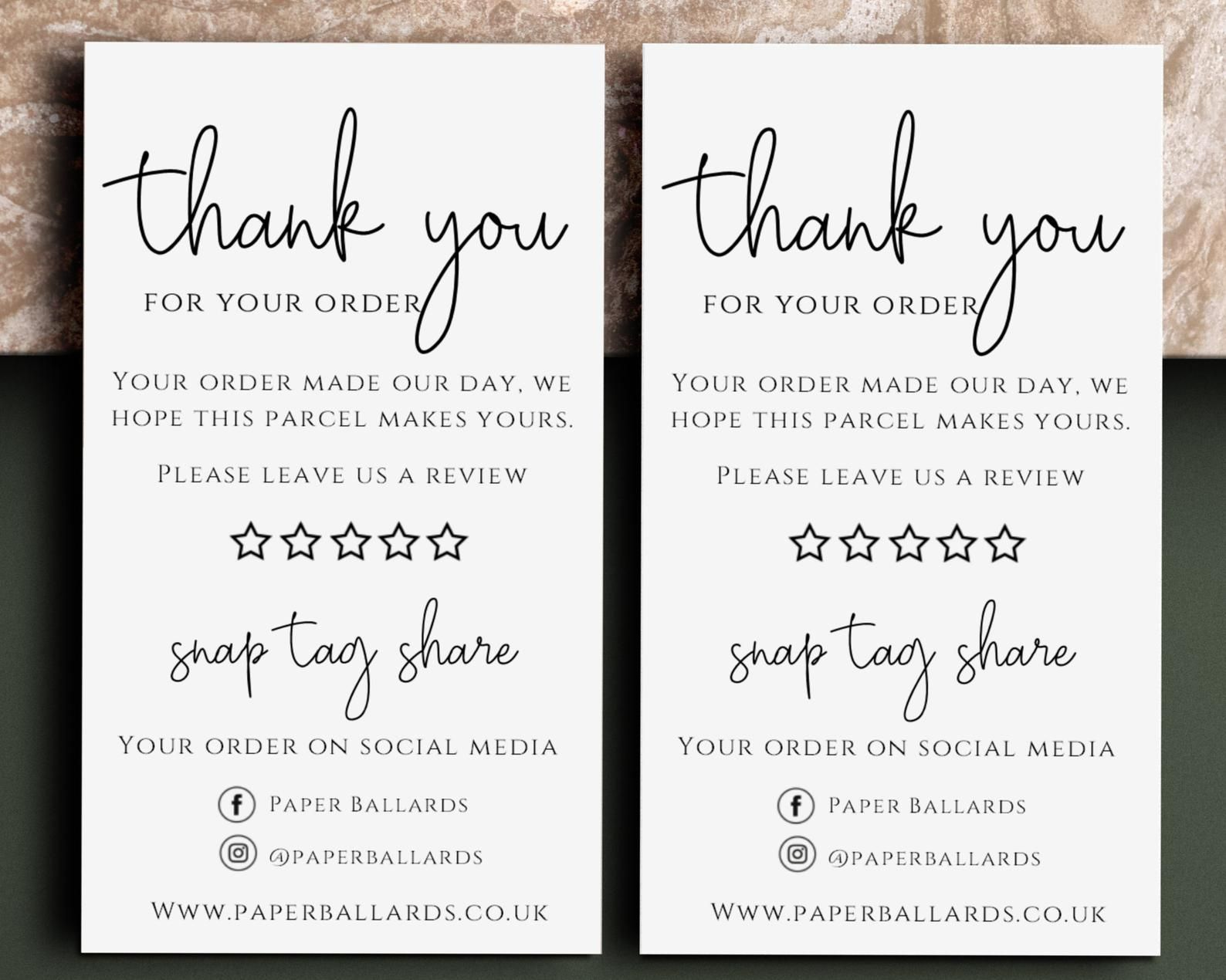 Thank You For Your Order Cards Please Leave A Review Card Etsy Kartu Nama Bisnis Kartu Nama Ide Kemasan